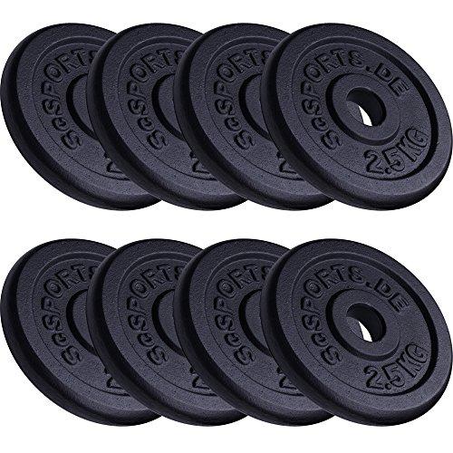 ScSPORTS 20 kg Hantelscheiben-Set 8 x 2,5 kg Gusseisen Gewichte 30/31 mm Bohrung
