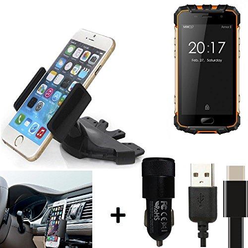K-S-Trade® TOP SET para Ulefone Armor 2 Soporte Ranura de CD Smartphone coche para los dispositivos de navegación / teléfonos inteligentes montaje de la radio hecho smartphone teléfono móvil navegación GPS para Ulefone Armor 2 + CARGADOR