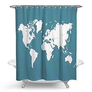 "kisy arte mapa del mundo impermeable baño cortina de ducha de mapa del mundo baño cortina de ducha tamaño estándar 70""x 70"" azul y blanco"