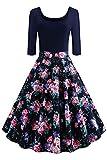 Axoe Damen Rockabilly Kleider 50er Jahre Festkleider mit Ärmel Grösse 46