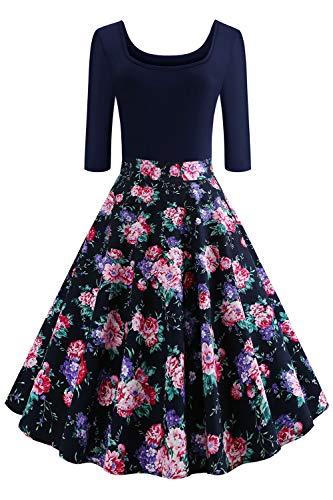 Axoe Damen Rockabilly Kleider 50er Jahre Festkleider mit Ärmel Gr.38-40