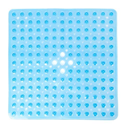 Pauwer Quadratische Rutschfeste Badematte aus Transparentem PVC Bade- und Duschmatte Antibakterielle Duschmatten Schimmelresistente Duschwannenmatten für Badezimmer,53*53cm,Blue Clear
