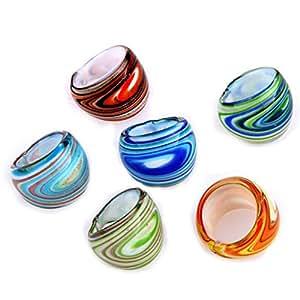 6X Bagues Anneaux en Murano Verre Lampwork Multicolore