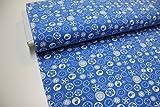 Stoff / 50cmx140cm / Kinder / beste Jersey-Qualität / Jersey Knöpfe, Blumen, Vögel auf blau