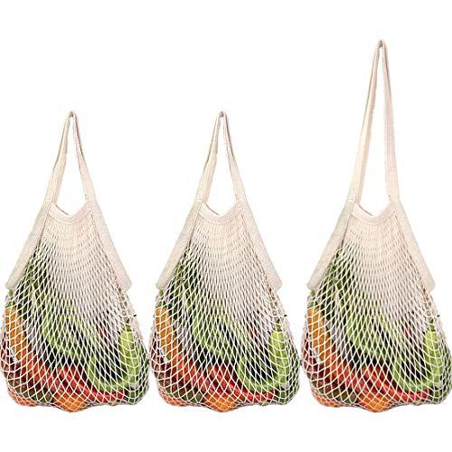 Leynatic Obst-und Gemüsebeutel aus Bio-Einkaufsnetz, Wiederverwendbare Einkaufstaschen Premium Natural Cotton-Eco Friendly Netztasche Griff für Lebensmitteleinkauf/Lagerung 3er Set Einkaufsbeutel