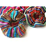 Set Of 12 Assorted- Scrunchies Hair Tie Pony Tail Assorted Peru Cotton Fair Trade