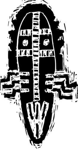 T-Shirt E540 Schönes T-Shirt mit farbigem Brustaufdruck - Logo / Grafik - abstraktes Design - Maske des Kriegers / afrikanische Stämme Schwarz