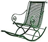 Casa Padrino Schmiedeeisen Garten Schaukelstuhl 55 x 150 cm Handgefertigte Gartenmöbel, Farbe:Vintage weiß