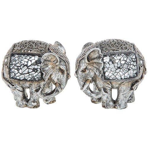 set-of-two-silver-crackle-elephant-medium-statue-ornament-figurine