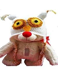 """LadyMYP©Handgemachte Strickmütze, Babymütze, Kindermütze, Hüte, 100% Wolle, Mütze """"Uhu"""" - weiß"""