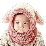 Reasoncool L'Inverno Bambino Bambini Uomini Caldo Cappuccio Cappuccio Di Lana Sciarpa Caps Cappelli (Rosa)