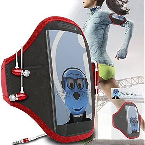 iTALKonline Motorola Droid Turbo 2 Rosso Nero regolabile Acqua / resistente all'umidità Sports GYM Jogging Correre copertura della cassa del bracciale della fascia di braccio con chiave di denaro cuffia Pocket include 3,5 millimetri di alluminio Cuffie Handsfree Mic e On / Off