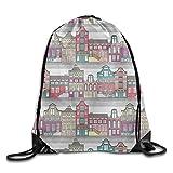 ewtretr Bolsos De Gimnasio, Cute Amsterdam Houses Drawstring Backpack Travel Bag Gym Outdoor Sports Portable Drawstring Beam Port Backpack For Girl Boys Woman Female