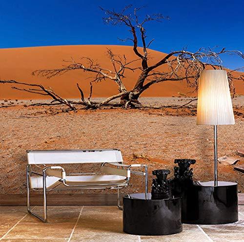 Mbwlkj Carta Da Parati 3D Photo Wallpaper Blue Sky Red Desert Rami Morti Moderna Minimalista Paesaggio Pittura Soggiorno Camera Da Letto Wallpaper Wall-450Cmx300Cm