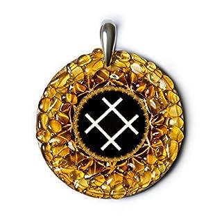 Rose–Bernstein Amulett mit antiken Baltischer Zeichen für Liebe, Schönheit und Gesundheit. Handgefertigt Halskette–Spirituelle New Age Pagan Baltischer
