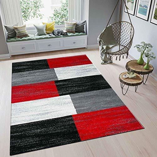 VIMODA Teppich Rot Grau Schwarz Weiß Kariert Farbverlauf Kurzflor, Maße:200x290 cm