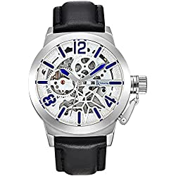 Alienwork Automatic Watch Self-winding Skeleton Mechanical Leather white black K003S-01