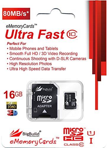 eMemoryCards 16GB Ultra schnelle 80MB/s Klasse 10 MicroSD Speicherkarte für Denver TAQ-10182 Tablet | SD Adapter ist im Lieferumfang enthalten