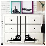 Grandora W5228 Wandtattoo Sneakers Schuhe I weiß I passend für IKEA HEMNES Kommode Kinderzimmer Kinder Aufkleber Wandsticker Wandaufkleber