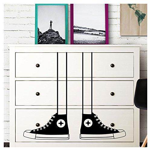 Grandora W5228 Wandtattoo Sneakers Schuhe I schwarz I passend für IKEA HEMNES Kommode Kinderzimmer Kinder Aufkleber Wandsticker Wandaufkleber