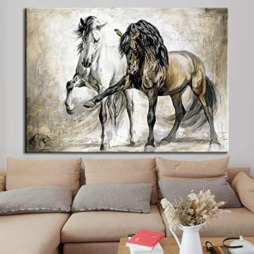 Vintage Pferd Wandkunst Leinwand Ölgemälde Abstrakte Gemälde Hängende Gemälde Kunst Malerei Wohnzimmer Dekoration Rahmenlose Rahmenlose Malerei Kern 40X50 cm -