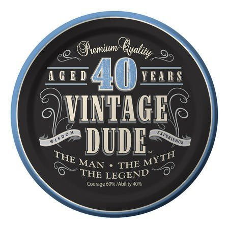 Club Aged 40 Years Vintage Dude Decoration Party Lunch Plates 7 by Party Central