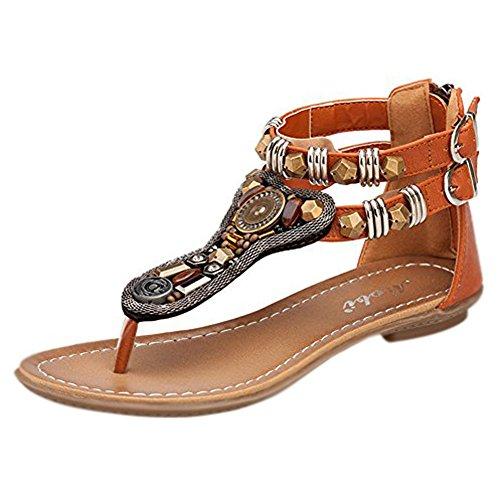 Minetom Mujer Verano Roman T-Correa Sandalias Diamante De Imitación Chanclas Sólido Cremallera Plana Con Tanga Zapatos Marrón EU 38