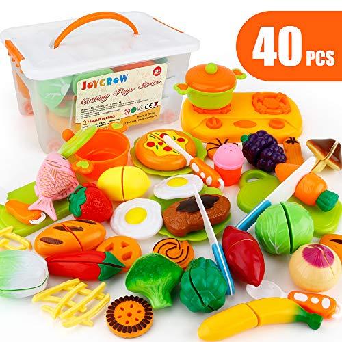 JoyGrow 40 Pezzi Tagliare i Giocattoli Taglio Frutta e Finti Alimenti, Set Gioco per Bambini, Gioco Educativo d\'Apprendimento, Accessori Cucina per Bambini