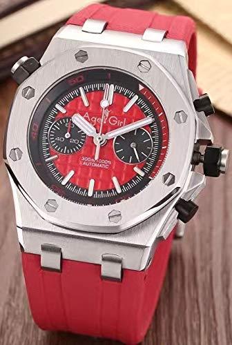 DMSGBZL Uhren New Herren Sportuhren Edelstahl Rose Gold Silber Schwarz Rubber Luminous Chronograph Sapphire Watch Silver Red - Gold Red Watch