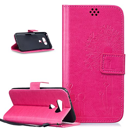 ikasus Coque LG G5 Etui Gaufrage Amour amants pissenlit Housse Cuir PU Housse Etui Coque Portefeuille Protection supporter Flip Case Etui Housse Coque pour LG G5 Etui,Rose rouge