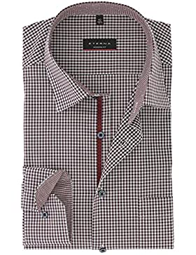 ETERNA Herrenhemd Modern Fit, rot, Vichy Popeline