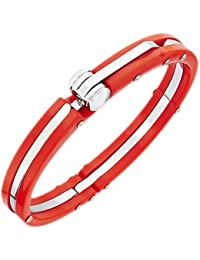 The Jewelbox Toughened Fibre Stainless Steel Red Openable Free Size Cuff Kada Bangle Bracelet For Men