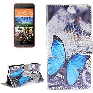 Etui porte cartes Papillon bleu pour HTC Desire 620