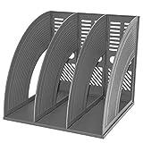 Desk File Organiser,SAYEEC Sturdy Desktop Triplicate Magazine Plastic Holders Frames File Dividers Document Cabinet Rack Display and Storage Organiser Box (Light Grey)
