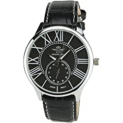 Men's Watch MICHAEL JOHN BLACK Quartz Steel Case Analogue Display Band FAUX LEATHER BLACK