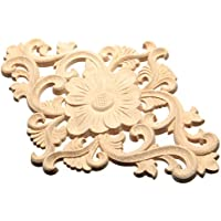 Madera tallada esquina Onlay Applique muebles Craft sin pintar flores decoración de la puerta 15x 21cm, madera, beige, Typ 1- 1pcs