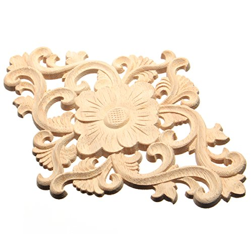 1 stück Holz Geschnitzte Ecke Onlay Applique Möbel Handwerk Unlackiert Flower Tür Decor 15x21 - Holz-applique Handwerk