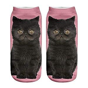 ☺Knöchelsocken Weihnachten Socken Lustige Sneaker Söckchen Unisex Sportsocken Baumwoll 3D Katze Gedruckt Atmungsaktiv Kurzsocken Boots Schuhe für Herren & Damen & Mädchen & Jungen 1 Paar (M)