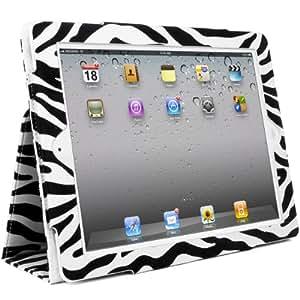 New iPad 2 IPAD 3 Case Zebra, Tasche mit Aufsteller für Apple iPad 2 unterstützt Sleep mode, Smart Cover Funktion (Black-Zebra)