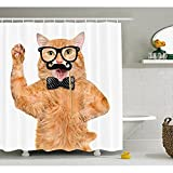 Yeuss Cute Duschvorhang, Hipster-Katze mit Brille, Schnurrbart und Herren witzige Lustige mit Animalprint, Stoff, mit Haken, apricot, schwarz, mit x72, 60
