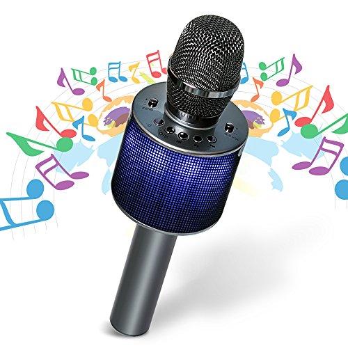 Bluetooth Karaoke Mikrofon,drahtloses Mikrofon Bluetooth für Erwachsene und Kinder für Sprach- und Gesangsaufnahmen,kompatibel mit Android/IOS, PC oder Alle Smartphone
