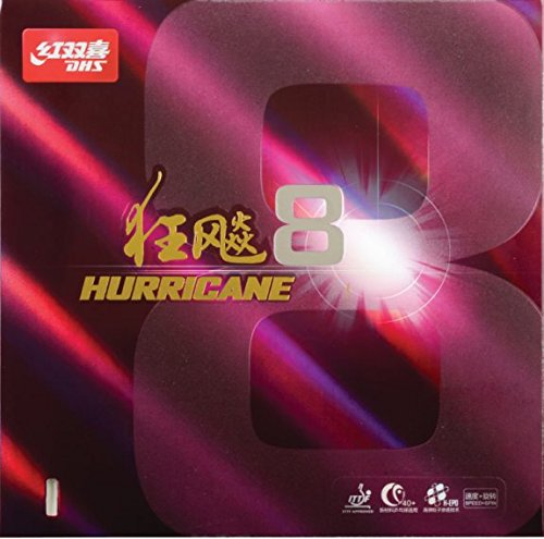 DHS Hurricane 8 Tischtennisbelag Noppen innen Double Happiness (schwarz)