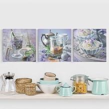 Bilderwelten Cuadro en lienzo 3 partes - Lavender Set Vintage - Cuadrado 1:1, cuadros cuadro lienzo moderno decoracion cuadros decorativos, Tamaño: 3x 80x80cm