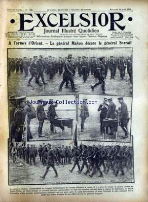 EXCELSIOR [No 1989] du 26/04/1916 - A L'ARMEE D'ORIENT - LE GENERAL MAHON DECORE LE GENERAL SARRAIL.