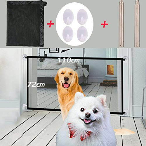 Nifogo Magic Gate, Magic Pet Dog Cancelli, Portatile Pieghevole Dog Barriera di Sicurezza, Isolamento Pet Safety Enclosure Net, Retrattile Dog Pet Animali Cancello Staccionate (110X72Cm)