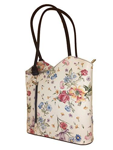 bumenmuster Echtleder Handtasche Damen in Rucksackhandtasche Edle Italy dunkelblau Made Rucksacktasche 8UFpqw