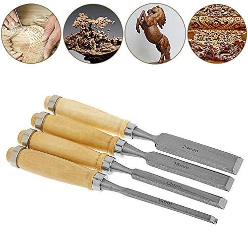 4 Stück Premium Holzschnitzerei-Kit, SK5 Carbon Steel [Verbesserte Version] Ideal zum Schnitzen von Gummi, Kürbis, Seife, Holzschnitzerei-Meißel-Werkzeugsatz für den Holzhandwerk-Anfänger