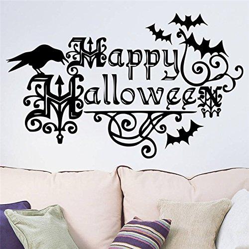 Wand Zitate Aufkleber Vinyl Happy Halloween Fledermäuse und Crow Zitate für Kinderzimmer Kindergarten Halloween Party Wandmalerei