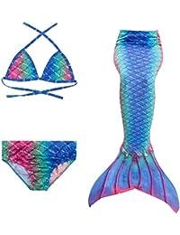 PaisDola Cola de Sirena para niñas para Nadar Incluido Traje de Sirena baño de Bikini de 3 Piezas