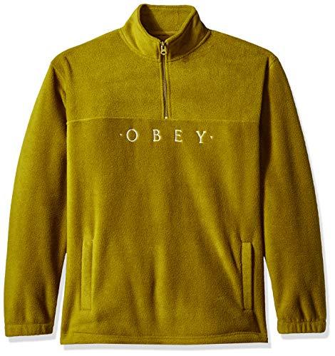 Obey Herren Mountain Mock Neck Zip Fleece Sweatshirt, Tapenade, Klein Zip Neck Fleece Pullover
